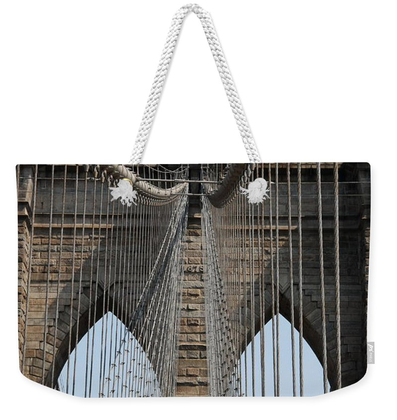 Bridge Weekender Tote Bag featuring the photograph Brooklyn Bridge Cables Nyc by Christiane Schulze Art And Photography