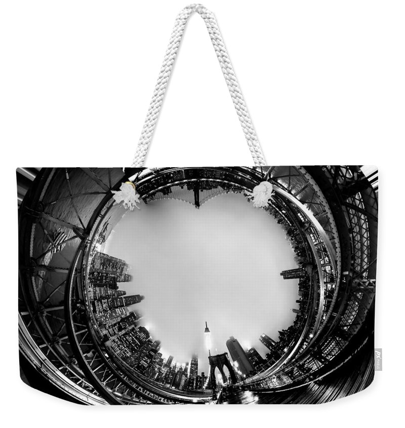 United States Of America Weekender Tote Bag featuring the photograph Brooklyn Bridge Circagraph 4 by Az Jackson