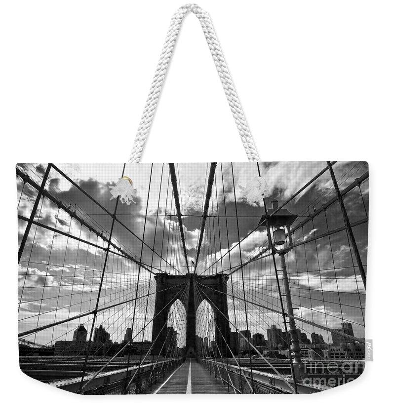 Brooklyn Bridge Weekender Tote Bag featuring the photograph Brooklyn Bridge by Delphimages Photo Creations