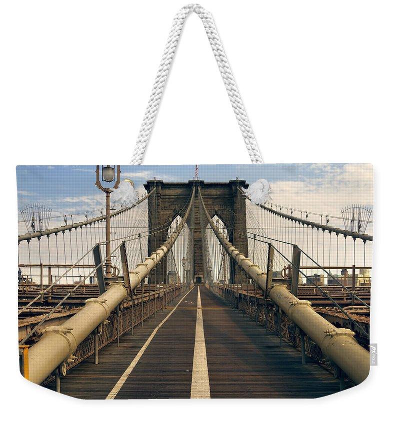 Brooklyn Weekender Tote Bag featuring the photograph Brooklyn Bridge by Istvan Kadar