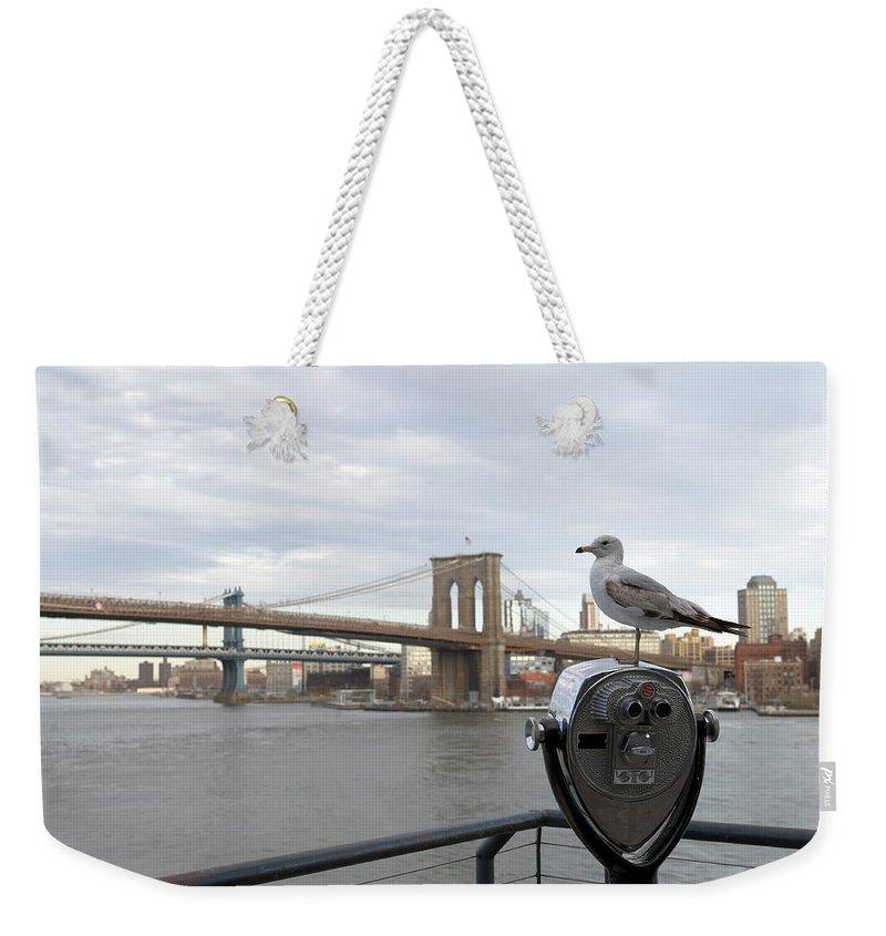 Lower Manhattan Weekender Tote Bag featuring the photograph Brooklyn Bridge by Kevinjeon00