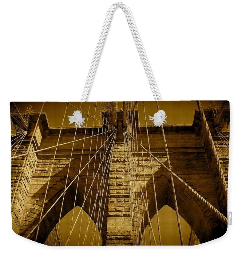 Brooklyn Bridge Prints Weekender Tote Bag featuring the photograph Brooklyn Bridge by Monique's Fine Art