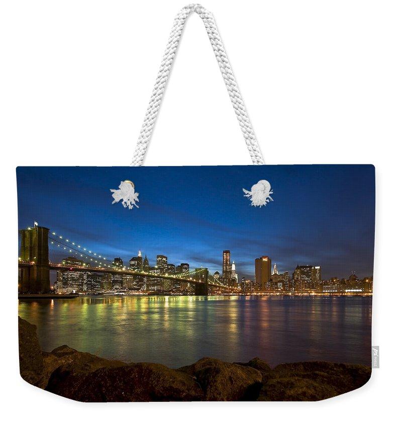 America Weekender Tote Bag featuring the photograph Brooklyn Bridge by Svetlana Sewell