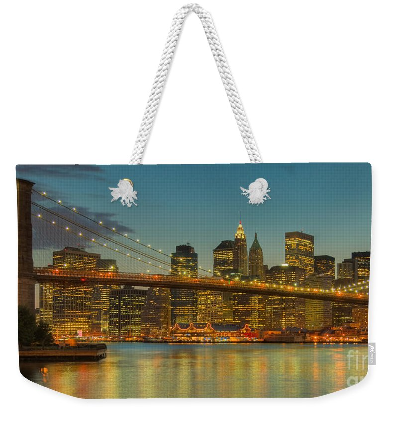 Clarence Holmes Weekender Tote Bag featuring the photograph Brooklyn Bridge Twilight Panoramic by Clarence Holmes