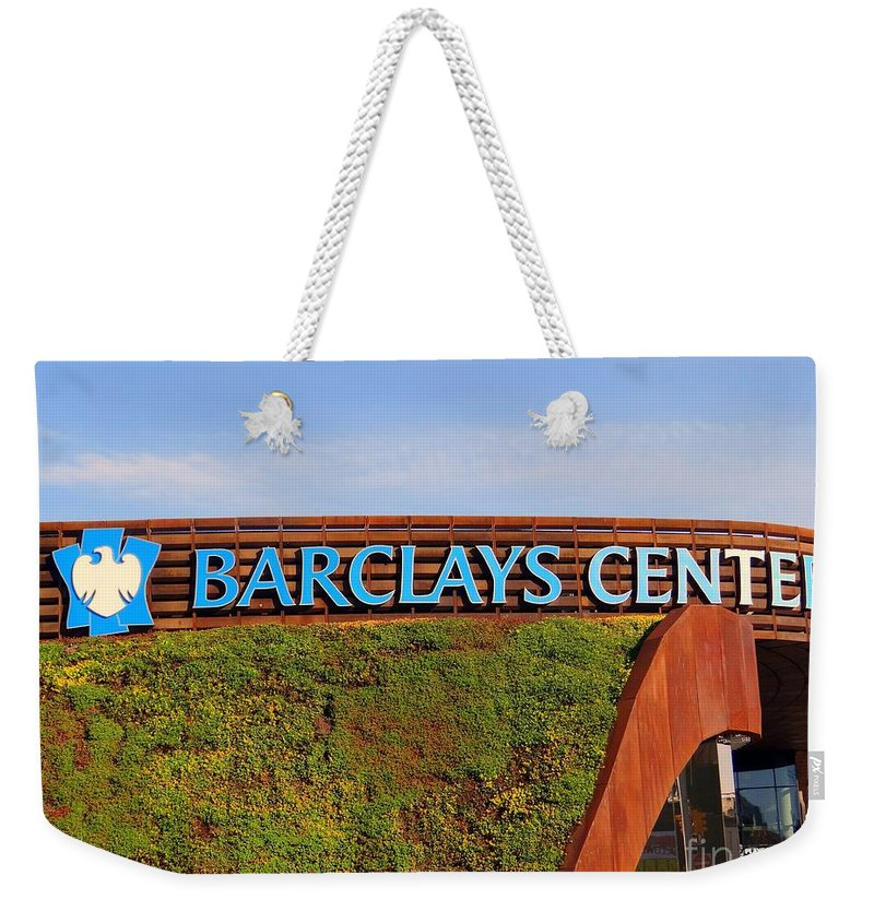 Grass Weekender Tote Bag featuring the photograph Brooklyn's Barclays by Ed Weidman
