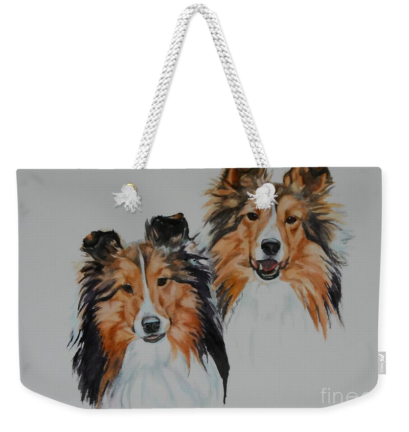 Dog Weekender Tote Bag featuring the painting Brothers by Susan Herber