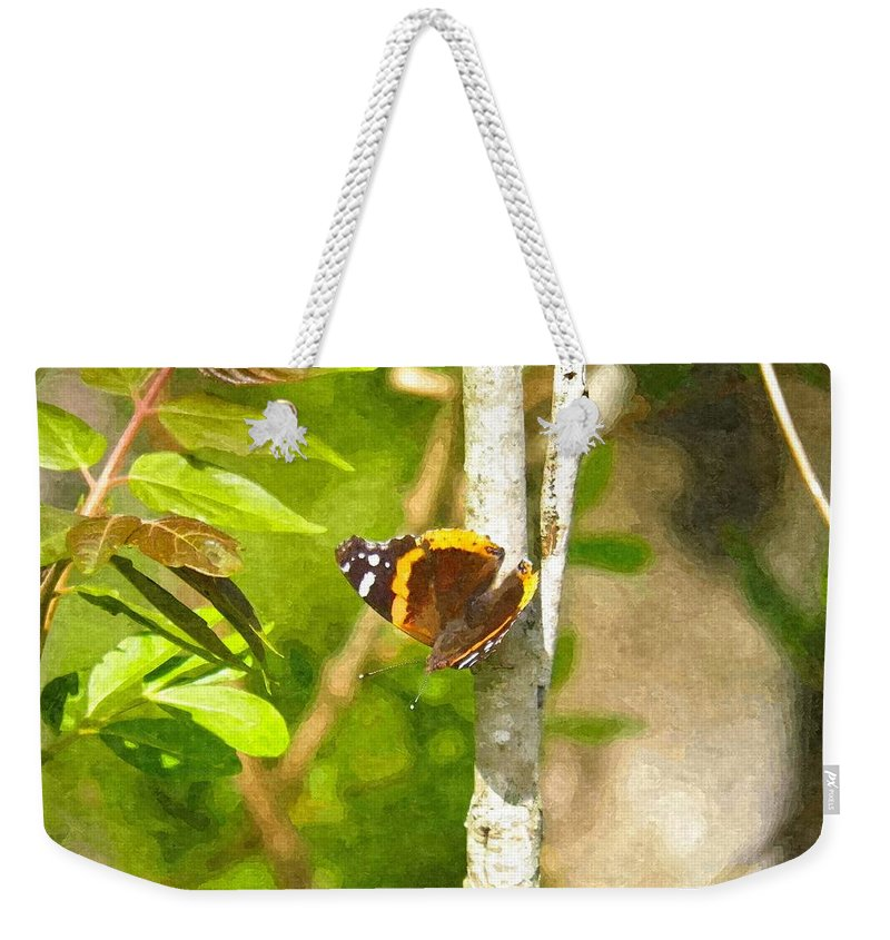 Brown Weekender Tote Bag featuring the photograph Brown Butterfly 2 by Nick Kirby