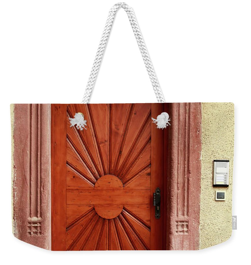 Apartment Weekender Tote Bag featuring the photograph Brown Door Exterior Entrance by Bendebruyn