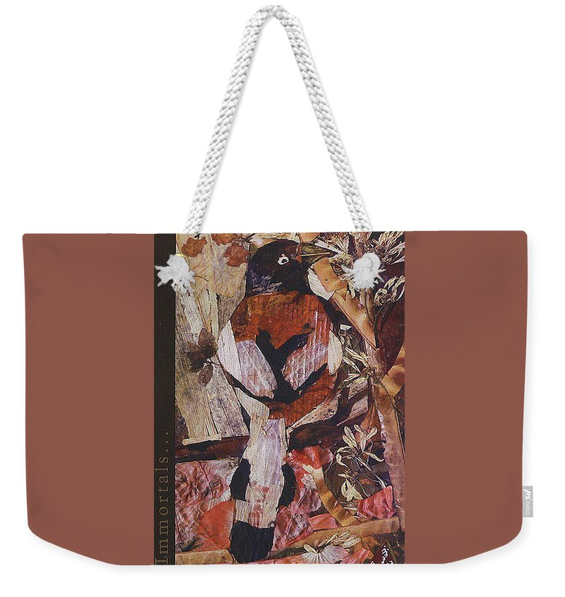 Brown-white-bird Weekender Tote Bag featuring the mixed media Brown- White Bird by Basant Soni