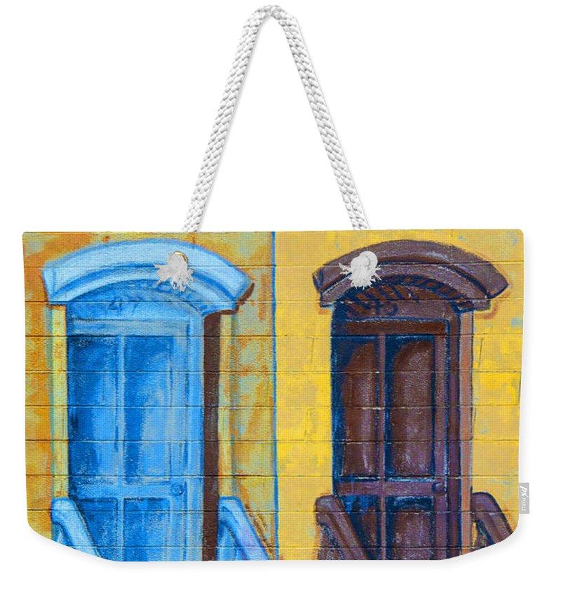 Brownstone Mural Weekender Tote Bag featuring the photograph Brownstone Mural Art by Regina Geoghan