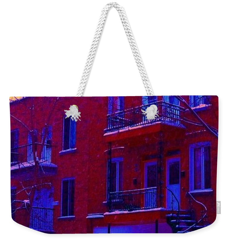 Montreal Weekender Tote Bag featuring the photograph Brownstones In Winter 6 by Carole Spandau