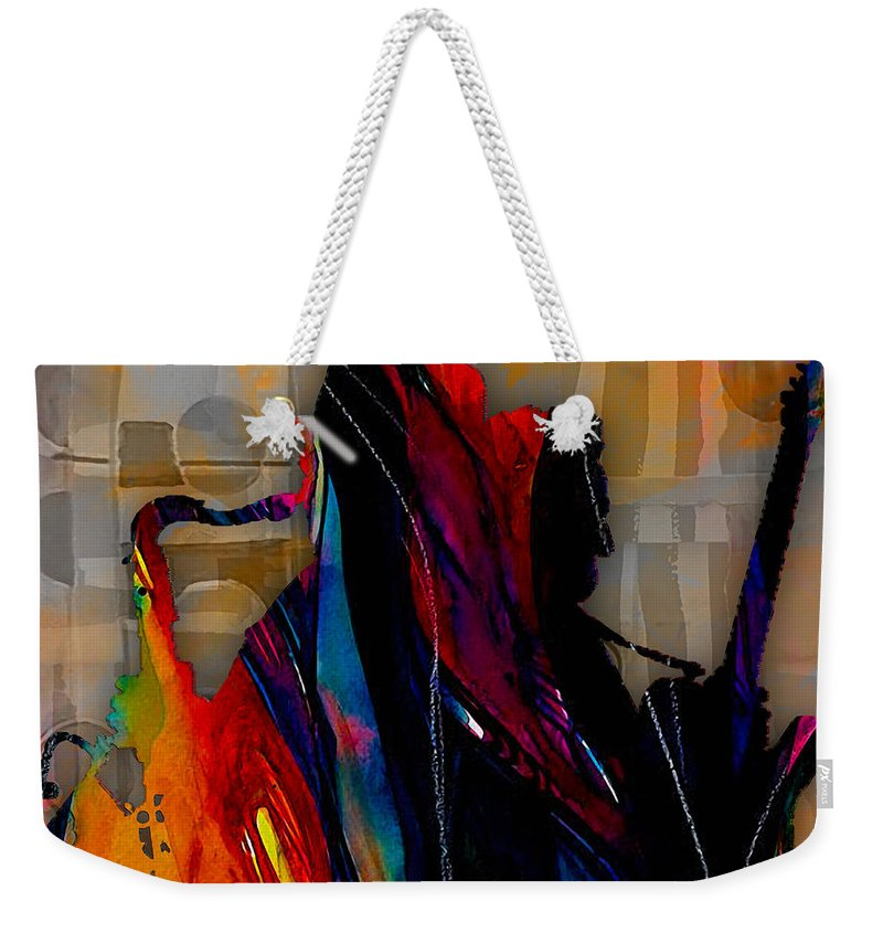Bruce Springsteen Art Weekender Tote Bag featuring the mixed media Bruce Springsteen Collection by Marvin Blaine