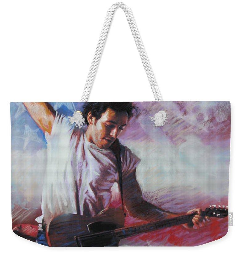 Singer Weekender Tote Bag featuring the mixed media Bruce Springsteen The Boss by Viola El