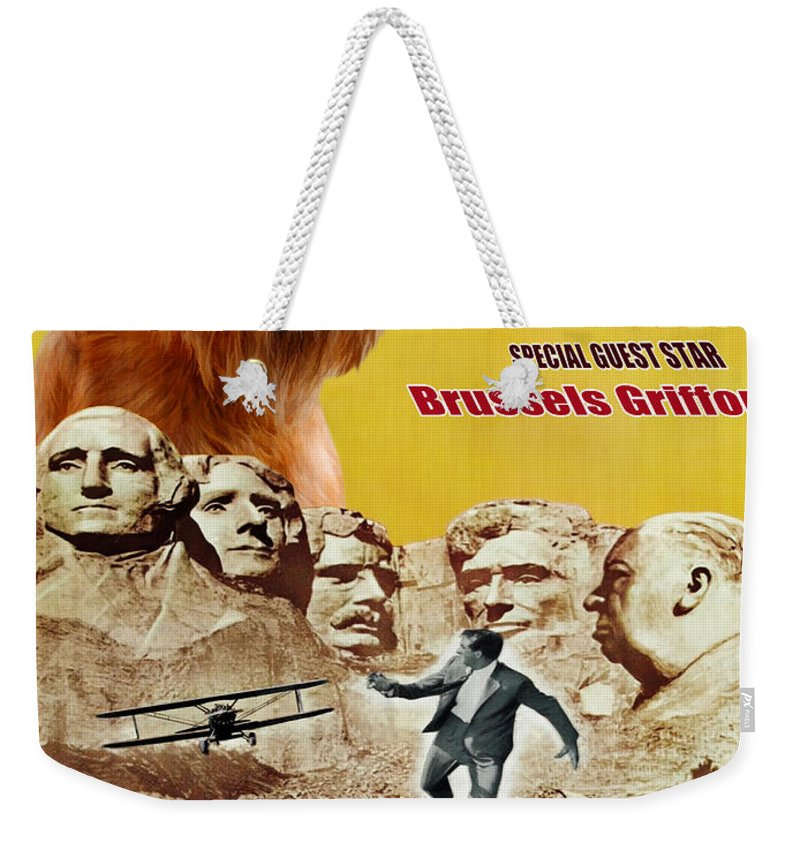 Dog Weekender Tote Bag featuring the painting Brussels Griffon Art - North By Northwest Movie Poster by Sandra Sij