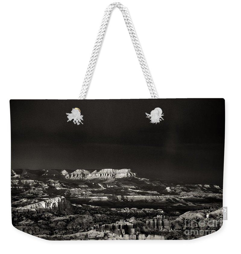 North America Weekender Tote Bag featuring the photograph Bryce Canyon Formations In Black And White by Dave Welling
