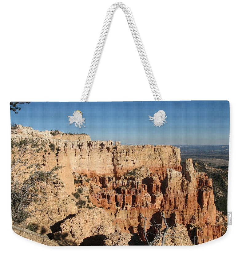Rocks Weekender Tote Bag featuring the photograph Bryce Canyon Scenic View by Christiane Schulze Art And Photography