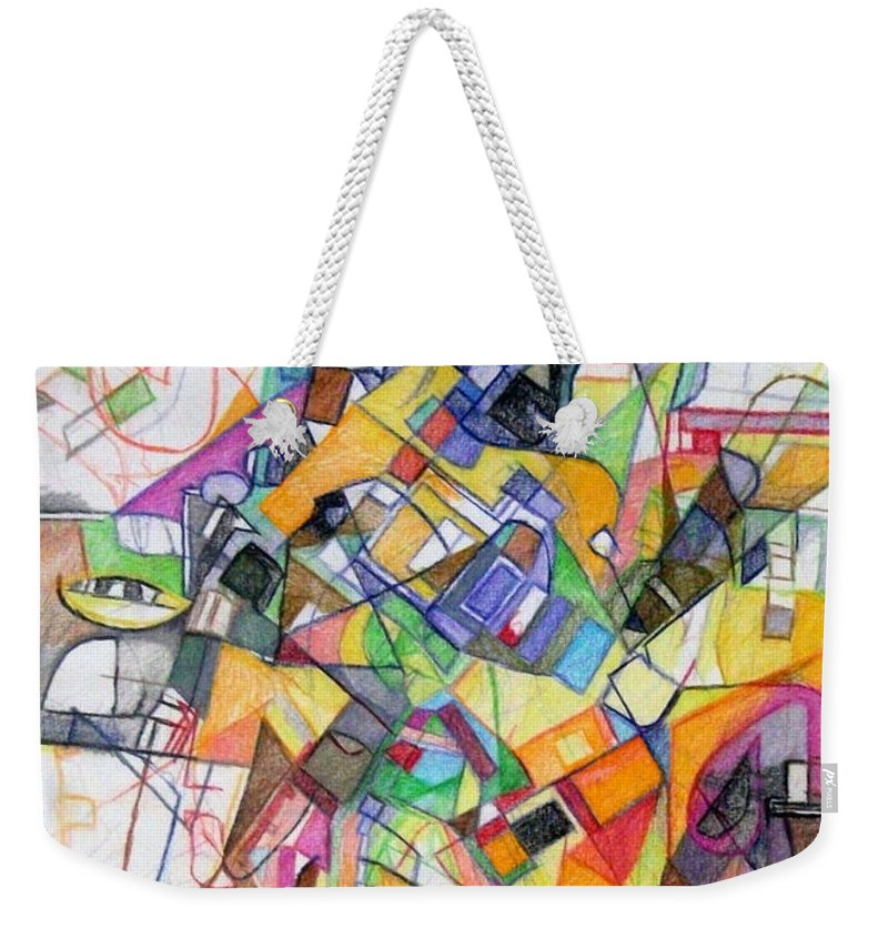 Torah Weekender Tote Bag featuring the drawing bSeter Elyion 20 by David Baruch Wolk