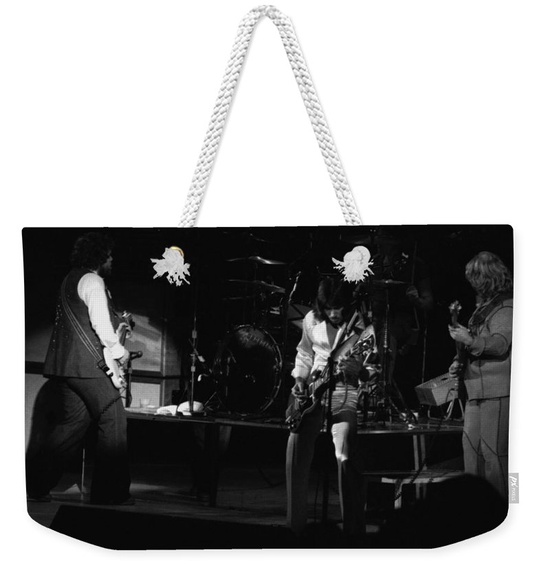 Bachman-turner Overdrive Weekender Tote Bag featuring the photograph Bto Rock Spokane In 1976 by Ben Upham