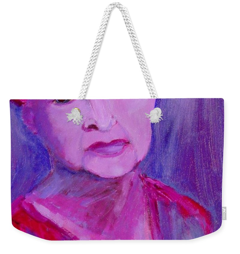 Bubbie Weekender Tote Bag featuring the painting Bubbe Hinda by Laurie Morgan
