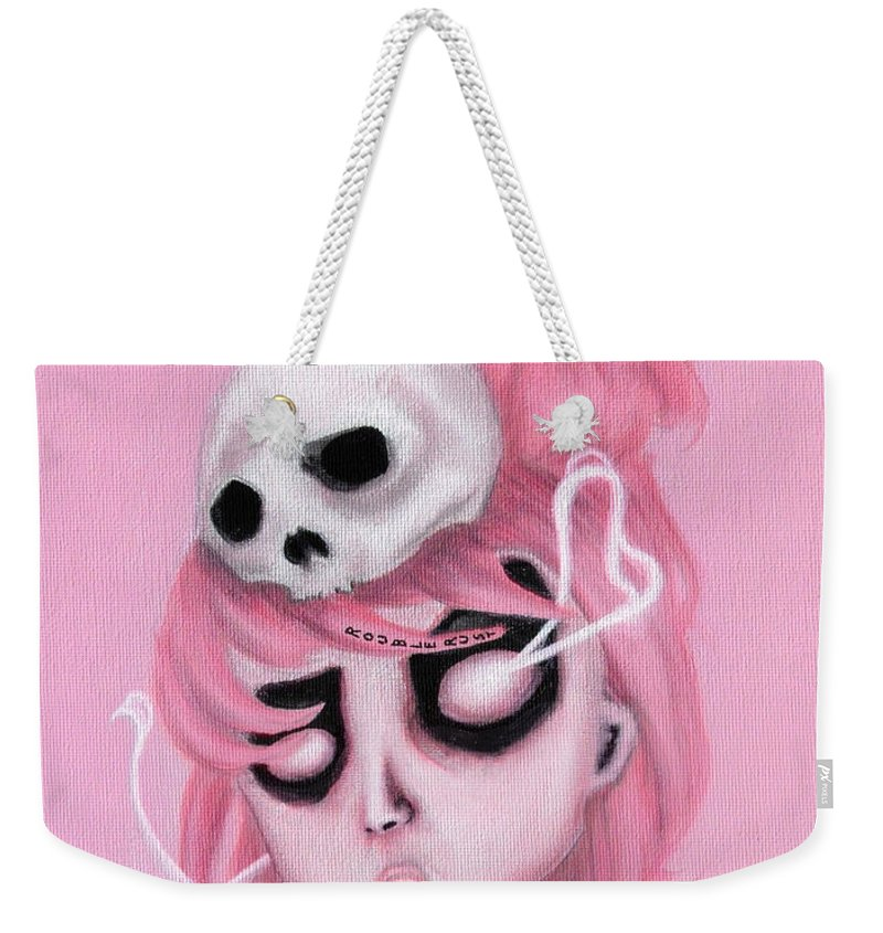 Pop Surrealism Weekender Tote Bag featuring the painting Bubblegum Pink by Rouble Rust