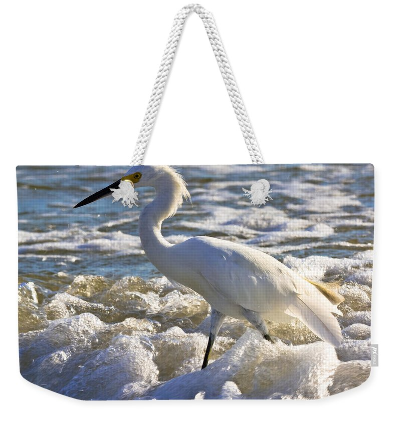 Beach Weekender Tote Bag featuring the photograph Bubbles Around Snowy Egret by Ed Gleichman