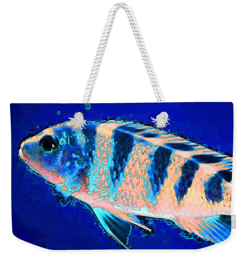 Fish Weekender Tote Bag featuring the painting Bubbles - Fish Art By Sharon Cummings by Sharon Cummings