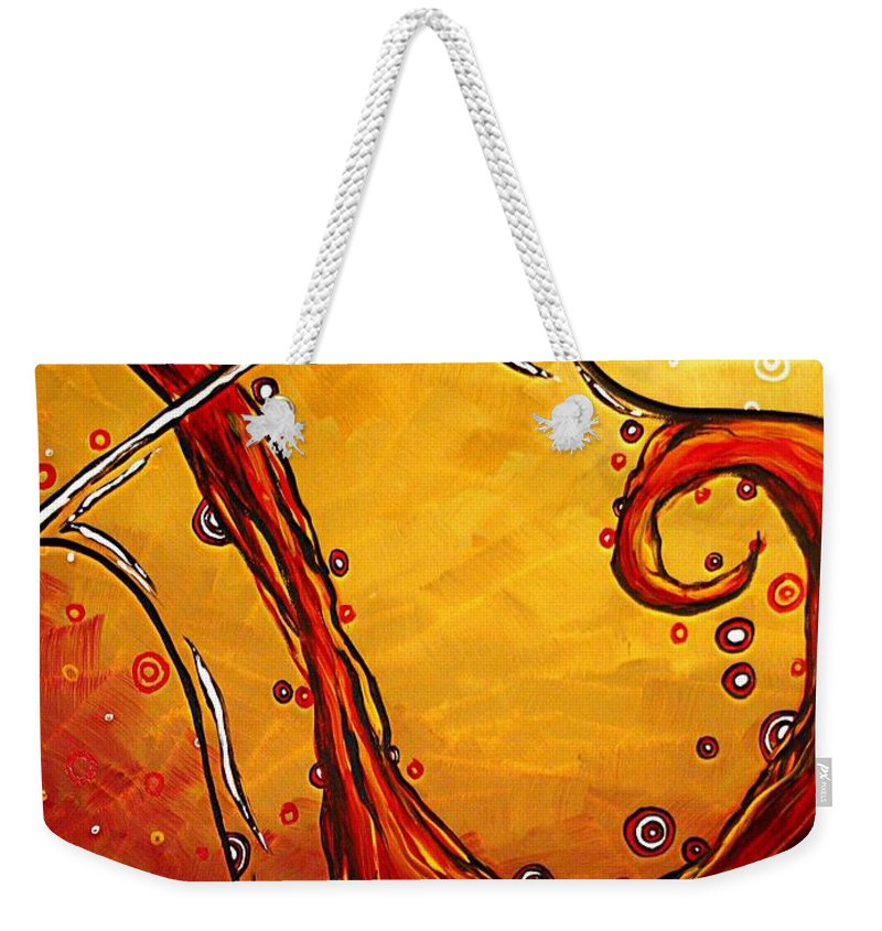 Abstract Weekender Tote Bag featuring the painting Bubbling Joy Original Madart Painting by Megan Duncanson