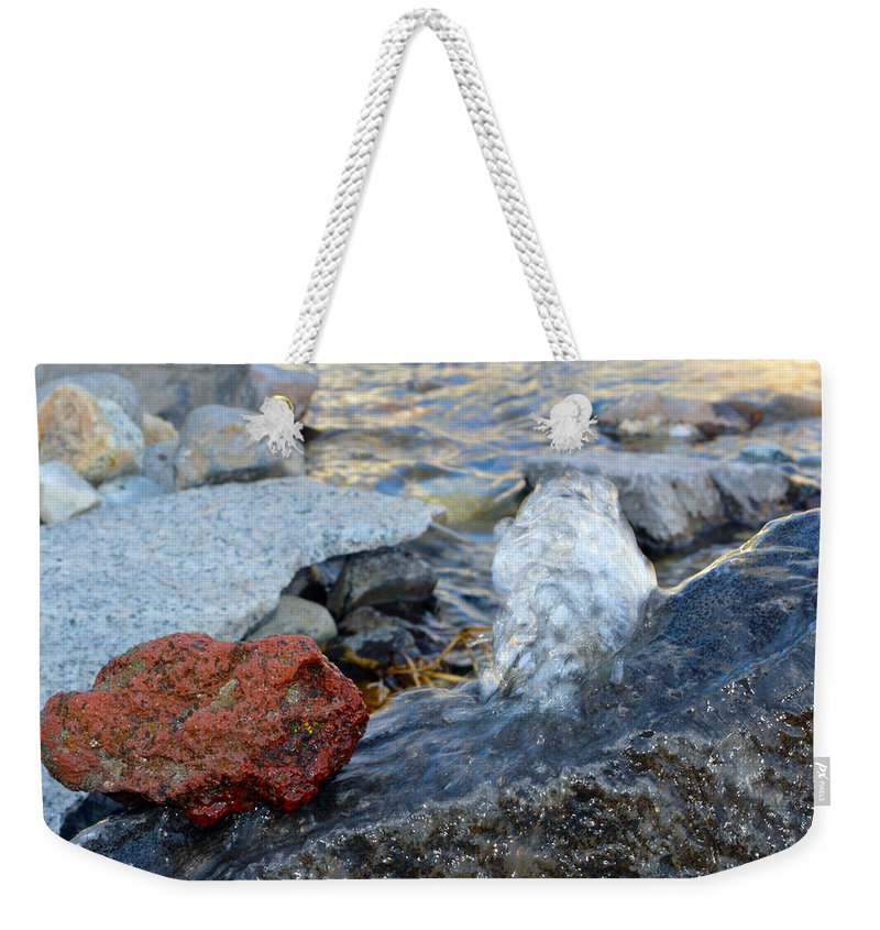 Water Weekender Tote Bag featuring the photograph Bubbling Rocks by Brent Dolliver