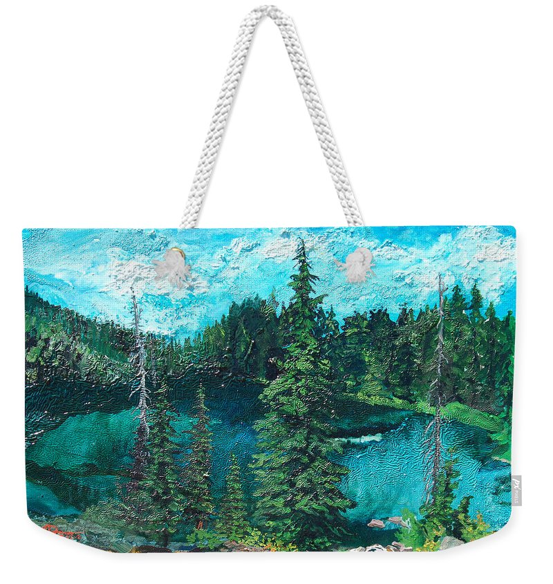 Buck Weekender Tote Bag featuring the painting Buck Lake by Joseph Demaree