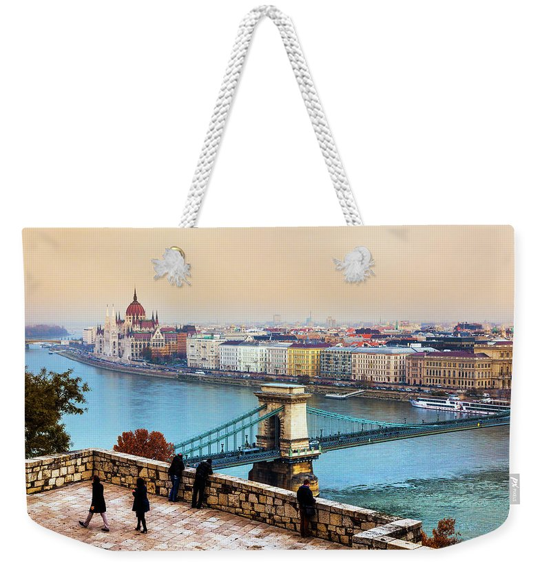 Hungarian Parliament Building Weekender Tote Bag featuring the photograph Budapest - Hungarian Pastels by John And Tina Reid