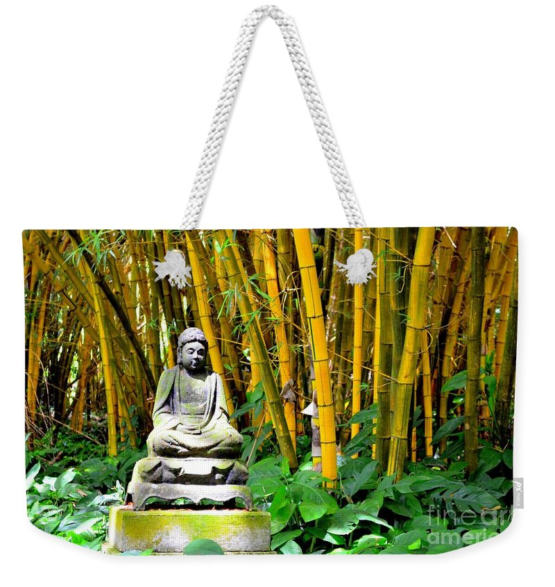 Buddha Weekender Tote Bag featuring the photograph Buddha In The Bamboo Forest by Mary Deal