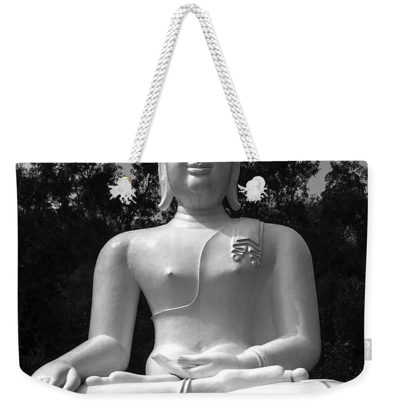 Black& White Weekender Tote Bag featuring the photograph Buddha by Lovejoy Creations