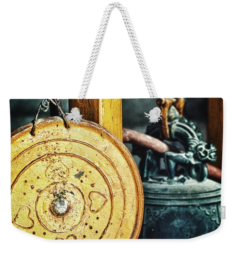Buddhist Temple Gong Weekender Tote Bag featuring the photograph Buddhist Gong by Skip Nall