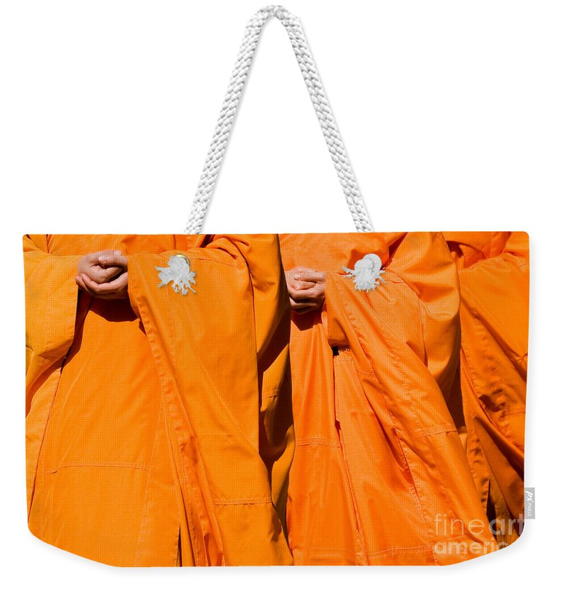 Buddhist Monk Weekender Tote Bag featuring the photograph Buddhist Monks 02 by Rick Piper Photography