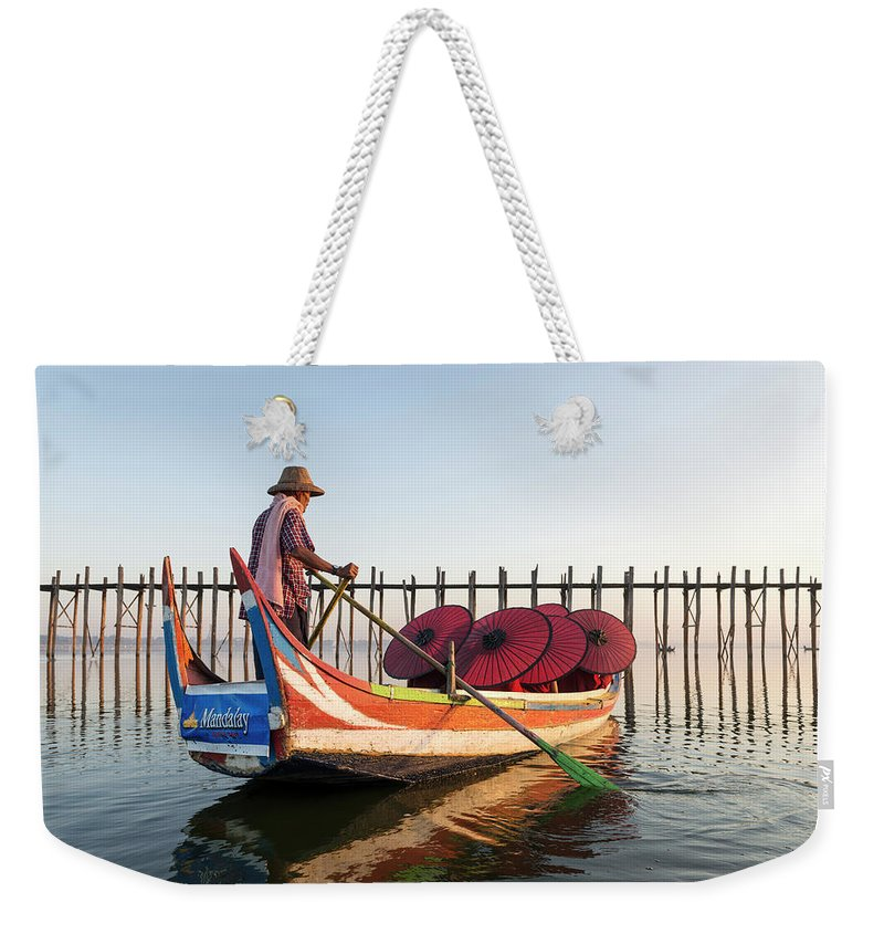 Young Men Weekender Tote Bag featuring the photograph Buddhist Monks And Sightseeing Boat by Martin Puddy