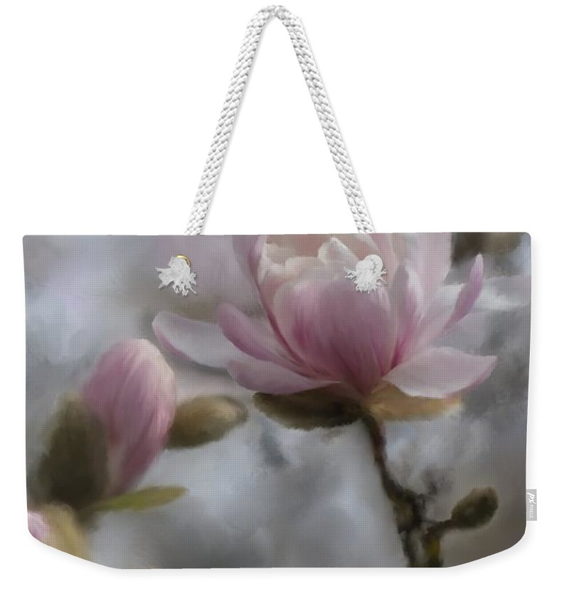 2014 Weekender Tote Bag featuring the digital art Budding Magnolia Branch by Karen Forsyth