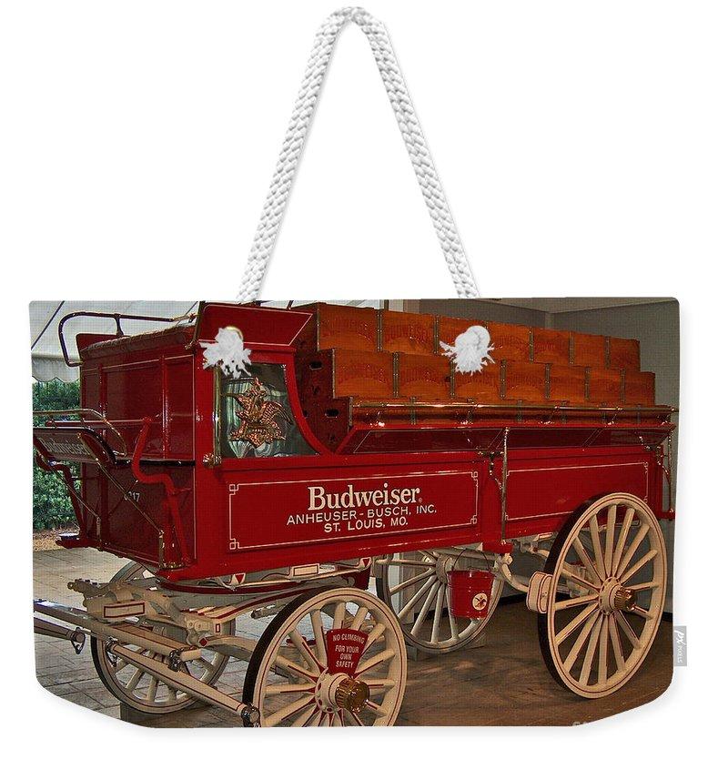Budweiser Weekender Tote Bag featuring the photograph Budweiser Anheuser Busch Wagon by Barb Dalton