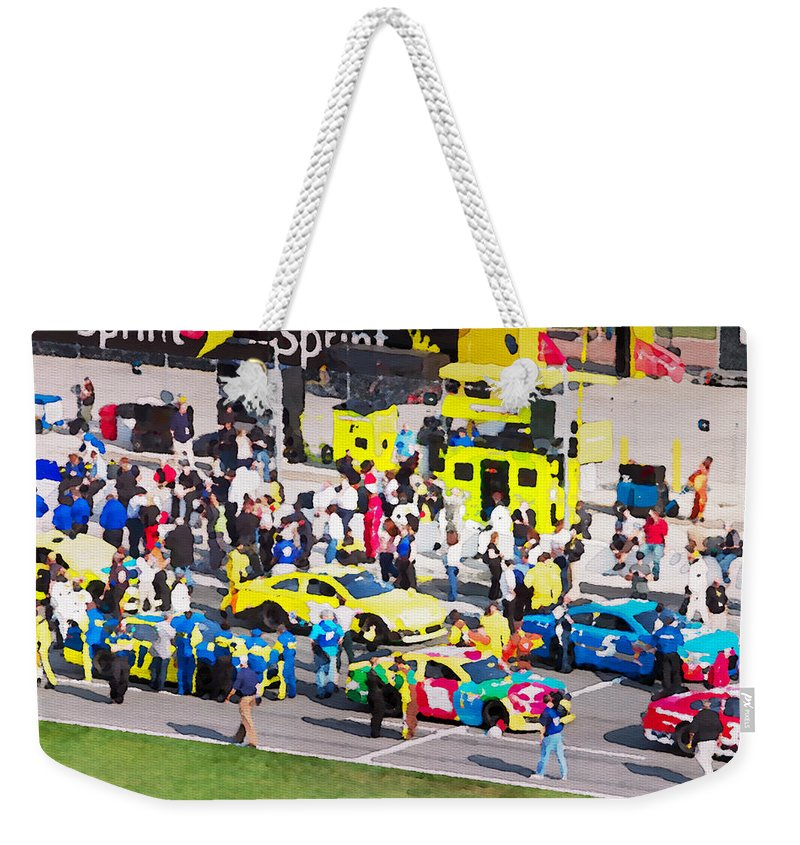 Budweiser Weekender Tote Bag featuring the photograph Budweiser Duels Lineup by Alice Gipson