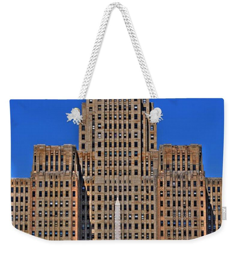 Buffalo Marathon Weekender Tote Bag featuring the photograph Buffalo Marathon 2013 City Hall View by Michael Frank Jr