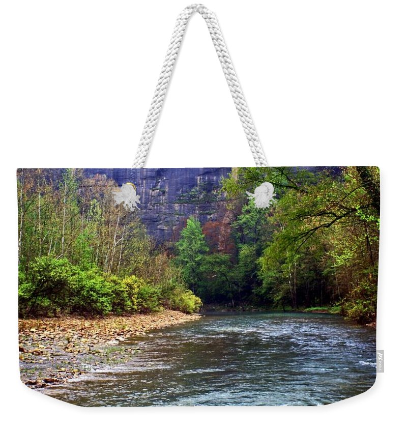 Buffalo National River Weekender Tote Bag featuring the photograph Buffalo River Downstream by Marty Koch