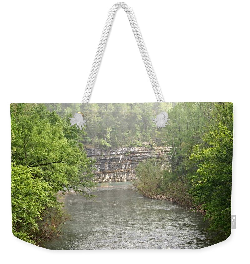 Buffalo National River Weekender Tote Bag featuring the photograph Buffalo River Mist Horizontal by Marty Koch