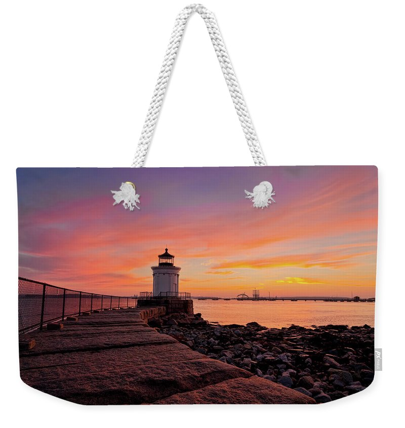 Built Structure Weekender Tote Bag featuring the photograph Bug Light Sunrise 1899 by Www.cfwphotography.com