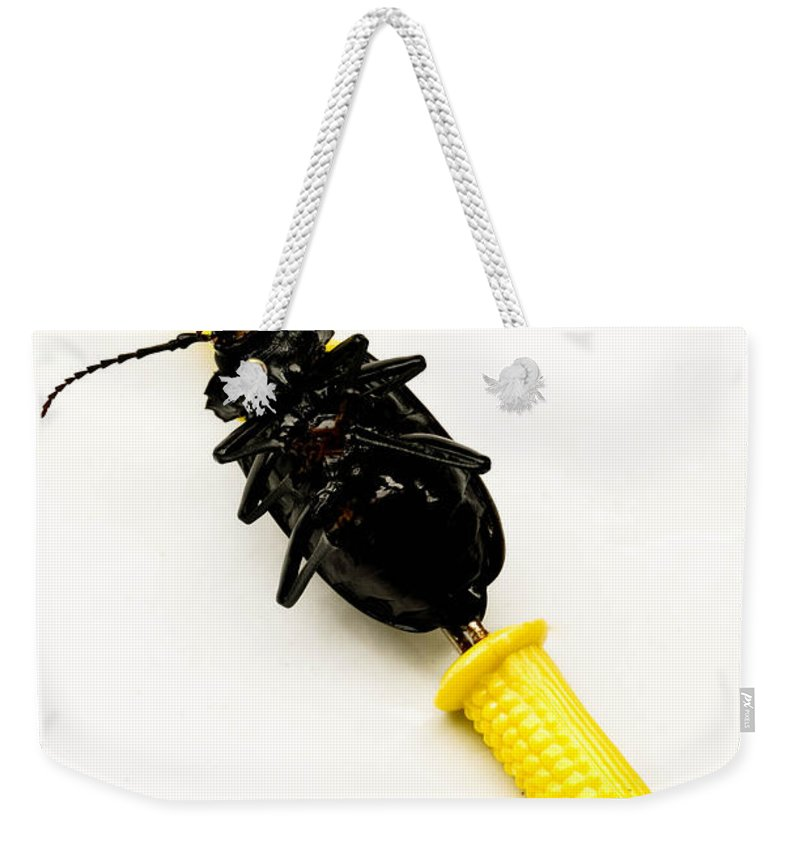 Absurd Weekender Tote Bag featuring the photograph Bug On The Cob by Amy Cicconi