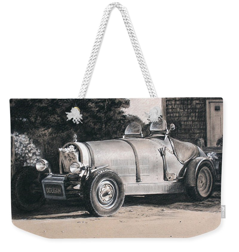 Cars Weekender Tote Bag featuring the drawing Bugatti by Todd Bachta