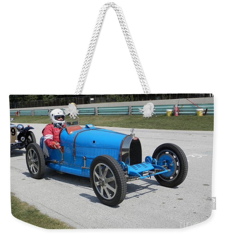 Bugatti Weekender Tote Bag featuring the photograph Bugatti Type 35 Racer by Neil Zimmerman