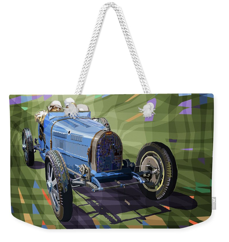Automotive Weekender Tote Bag featuring the digital art Bugatti Type 35 by Yuriy Shevchuk