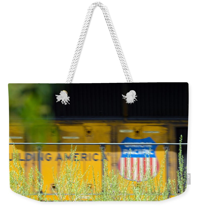 Train Weekender Tote Bag featuring the photograph Building America by Brent Dolliver