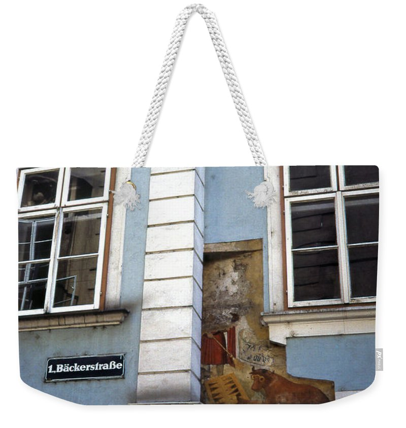 Blue Building Weekender Tote Bag featuring the photograph Building In Blue by Cathy Anderson