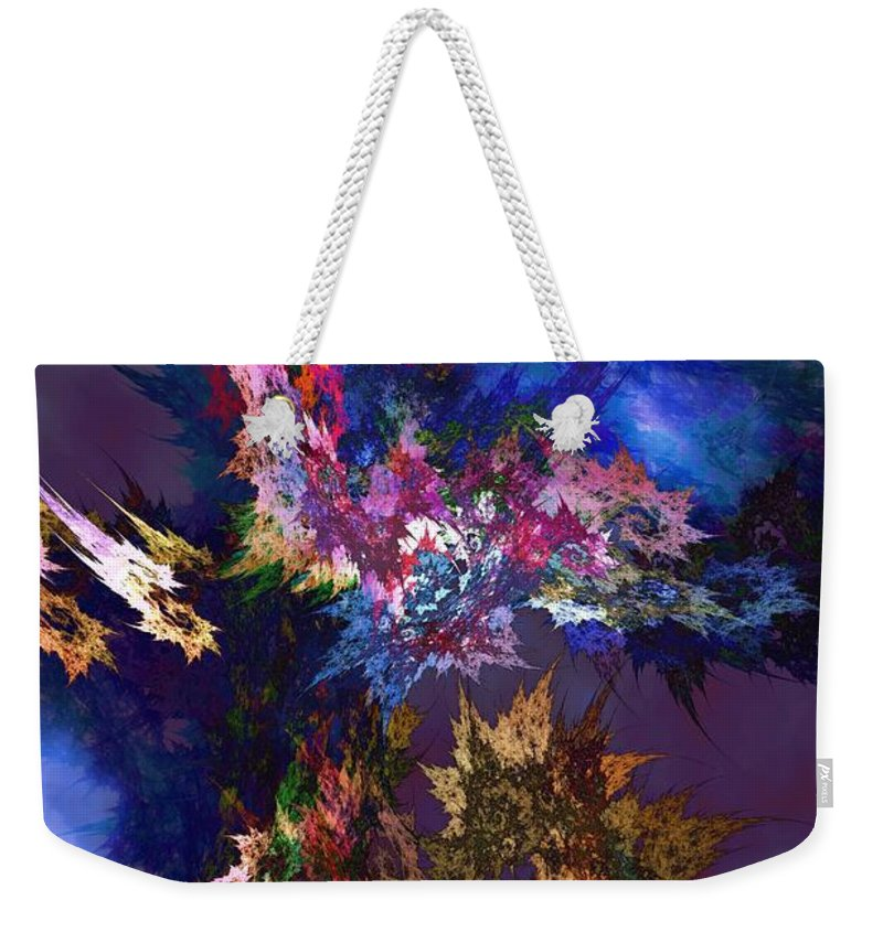Blue Weekender Tote Bag featuring the digital art Building New Landscapes by Elizabeth McTaggart