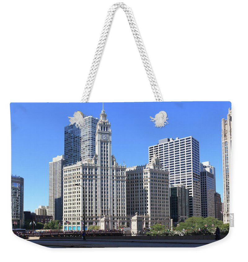 Chicago River Weekender Tote Bag featuring the photograph Buildings By The Chicago River, Chicago by Fraser Hall